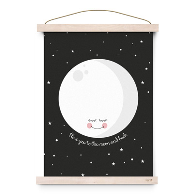 Foto Eef Lillemor poster A3 To the moon and back zwart