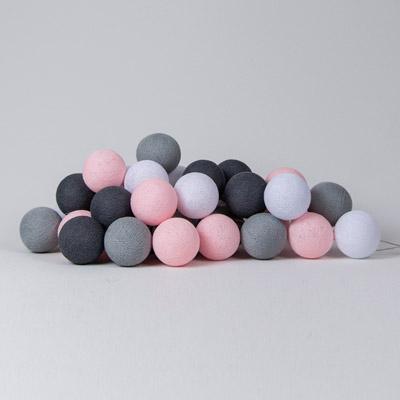 cotton ball lights pink grey roze grijs 20 stuks lief en klein