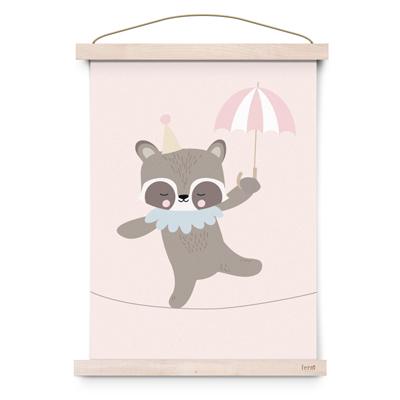 Eef Lillemor poster A3 Circus dansende wasbeer