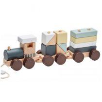 Kids Concept trein met blokken naturel