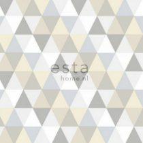 Esta home behang driehoekjes grijs beige en wit