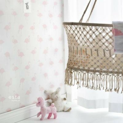 Behang Baby Roze.Esta Home Behang Flamingo S Licht Roze En Wit Lief En Klein