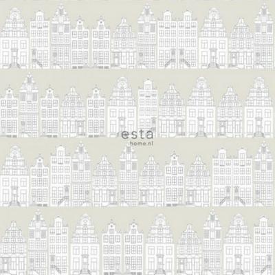 Vogeltjes Behang Lief.Esta Home Behang Getekende Amsterdamse Grachtenhuisjes
