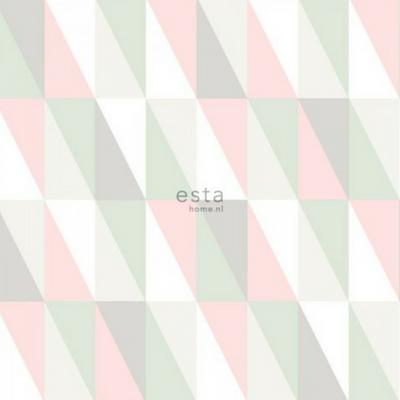 Behang Baby Roze.Esta Home Behang Grafische Driehoeken Licht Roze En Mint Lief En Klein