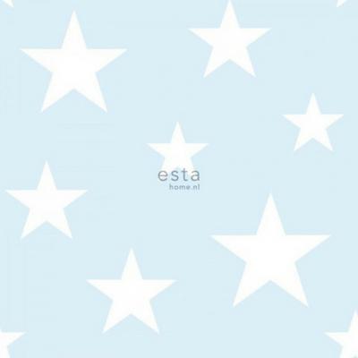Betere Esta home behang grote en kleine sterren licht blauw en wit - Lief DO-46