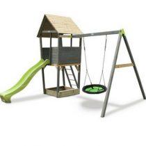 EXIT AKSent houten speeltoren met netschommel grijs