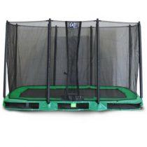 Exit interra inground trampoline 244x427cm met veiligheidsnet groen
