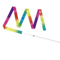 Gymnastiekband regenboog lint 200 cm stok 40 cm