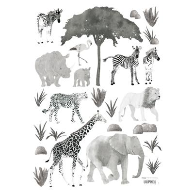 Lilipinso Serengeti muurstickers wilde dieren zwart wit
