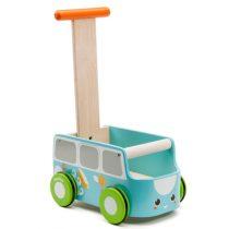 PlanToys loopwagen bus blauw