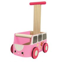 PlanToys loopwagen bus roze