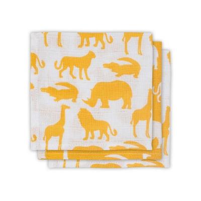 Jollein hydrofiele monddoekjes safari ocher 3 stuks