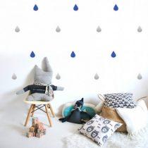 POM muurstickers Regendruppel blauw zilver