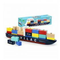 Vilac Vilacity houten containerschip met houten staafjes