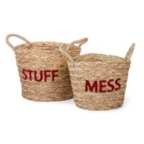 Kidsdepot opbergmanden set Messy & stuff coral red
