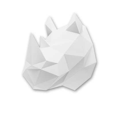 Assembli dierenhoofd papier Neushoorn wit