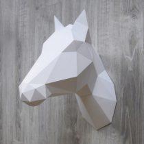 Assembli dierenhoofd papier Paard of Eenhoorn wit
