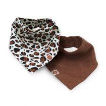 Jollein slab bandana set 2 stuks leopard naturel
