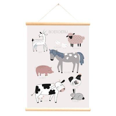 Little and Pure poster praatplaat Boerderijdieren roze