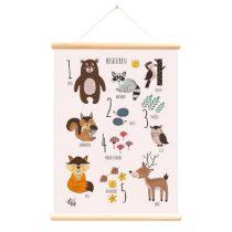 Little and Pure poster praatplaat Bosdieren leren tellen roze