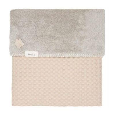 Koeka eenpersoonsdeken wafel teddy Oslo sand misty grey