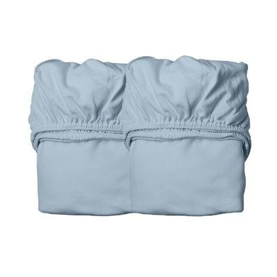 Leander hoeslakens juniorbed organic 2 stuks dusty blue