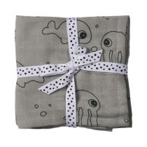 Done by Deer hydrofiele doeken Sea Friends grey 2 stuks