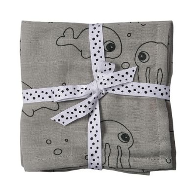 Done by Deer hydrofiele doeken Sea Friends grey 2 stuks