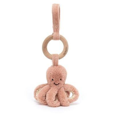 Jellycat Odell octopus babyspeeltje met houten ring