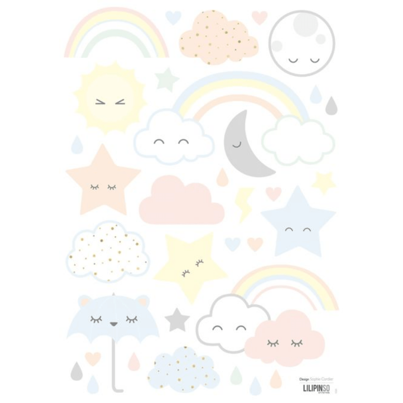 Lilipinso muursticker wolk, ster en regenboog