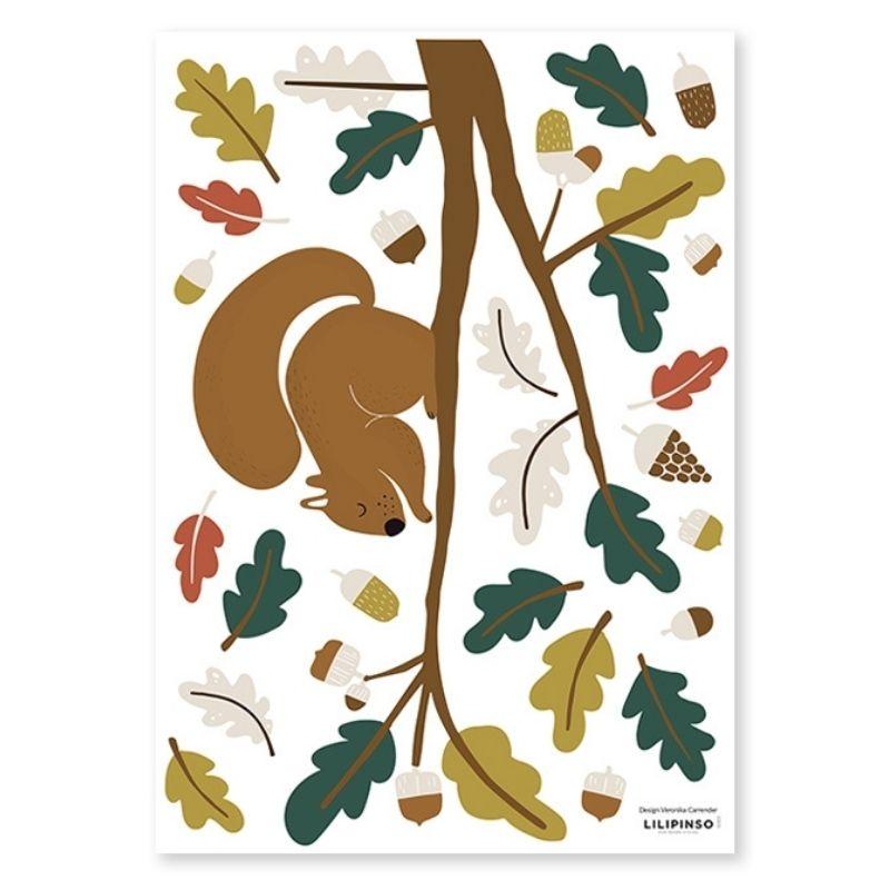 Lilipinso muursticker eekhoorn en blaadjes