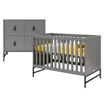 Bopita 2-delige babykamer Milo steel grey