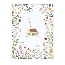 Lilipinso poster Huis en bloemen met frame