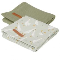 Little Dutch hydrofiele doeken 70x70 Little Goose/Pure Olive